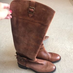 NWOT INC brown knee high boots, Sz 5